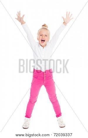 Screaming emotional girl with her hands raised. Girl is six years old.