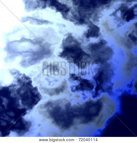 Abstract Bright Blue Sky With Water Clouds