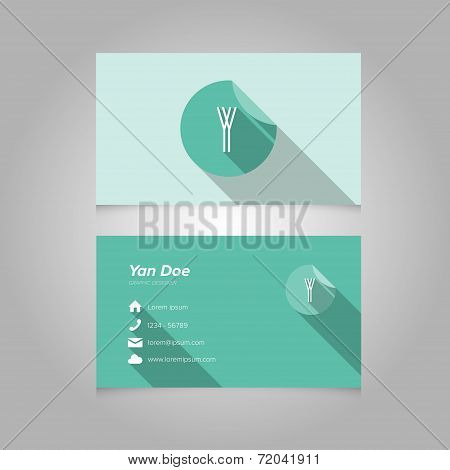 Simple Business Card Template With Alphabet Letter Y