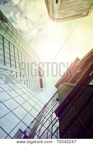 highrise office buildings seen from below, Frankfurt am Main, Germany