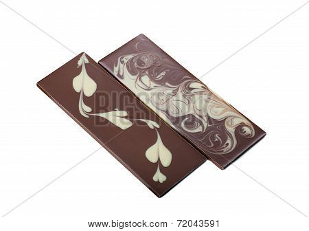 Two delicious bar of mixed chocolate with patterns