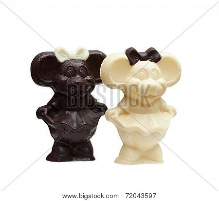 Tasty chocolate bears isolated on white