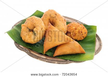 Traditional Indian snack starter isolated on white background.