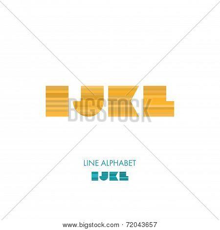 I J K L - Simple Modern Lines Flat Alphabet