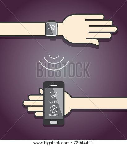 Smartwatch and smartphone communication. Smartwatch sending fitness information to smartphone via wireless connection