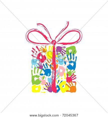 Gift Box With Bow Of The Handprints Of Father, Mother And Children