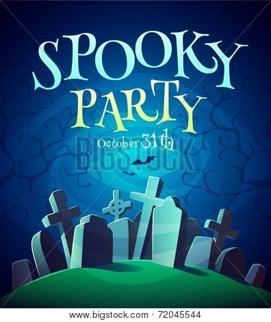 Spooky graveyard. Halloween poster \ background \ card. Vector illustration.