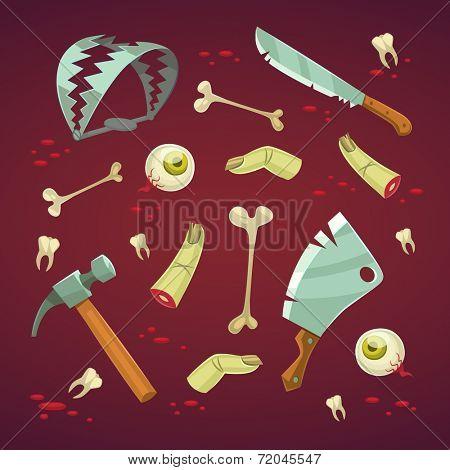 Horror set. Halloween poster \ background \ card. Vector illustration.