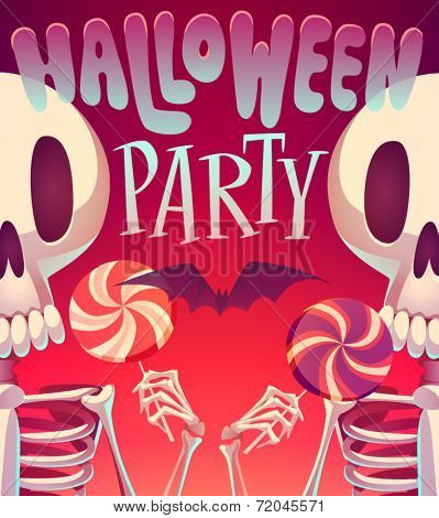 Skeletons. Halloween poster \ background \ card. Vector illustration.