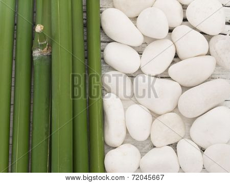bamboo and white stones, spa arrangement,