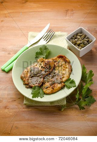 escalope with red wine and capers