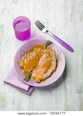 escalope with saffron sauce