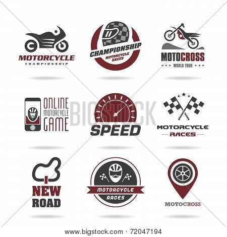 Motorcycle racing icon set - 3