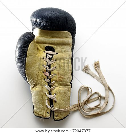 Lace Up Boxing Glove Lying On White Background