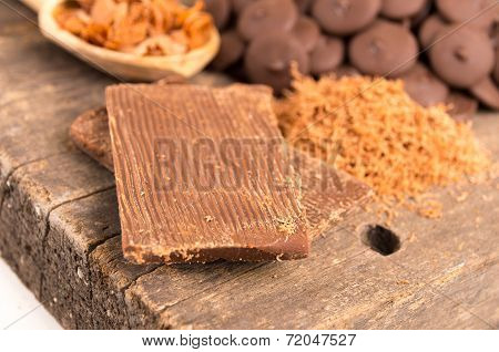 shredded chocolate on a wooden table