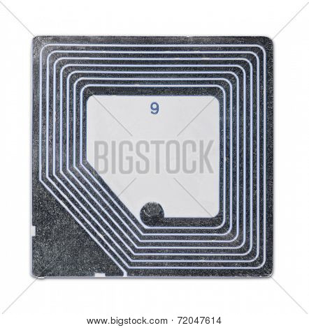 Anti shoplifting RFID tag isolated on white