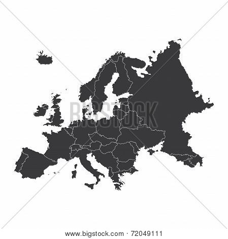Outline On Clean Background Of The Continent Of Europe