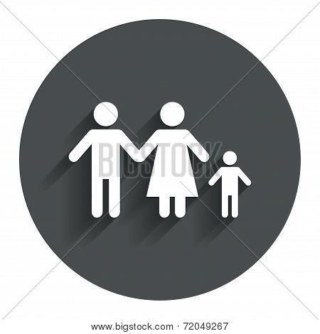 Complete family with one child sign icon.