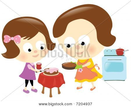 Mother and daughter baking a cake