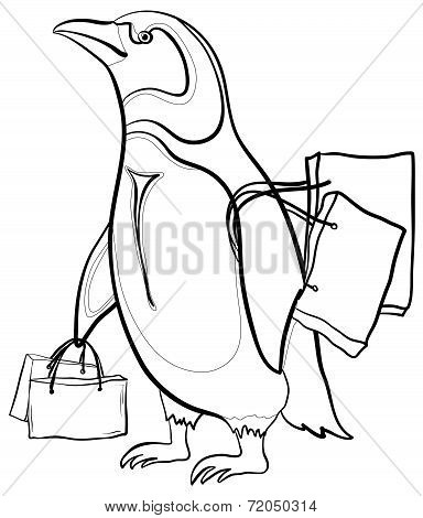 Penguin with bags, contours