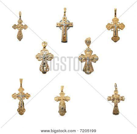 Golden Jewelry Crosses