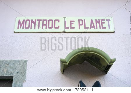 MONTROC, FRANCE - SEPTEMBER 02: Montroc tram station sign. The area is a stage of the popular Mont Blanc tour, which crosses France, Italy and Switzerland. September 02, 2014 in Montroc.