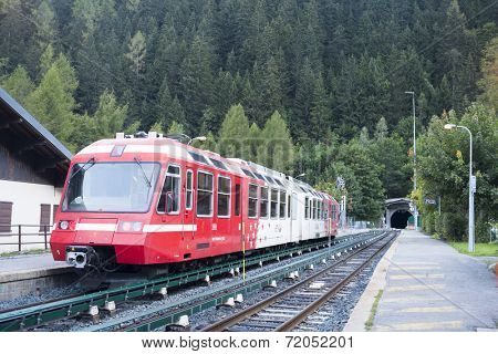 MONTROC, FRANCE - SEPTEMBER 02: Alpine tram at Montroc village station. The area is a stage of the popular Mont Blanc tour, which crosses France, Italy and Switzerland. September 02, 2014 in Montroc.