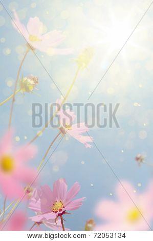 Art Retro Autumn Flowers Background