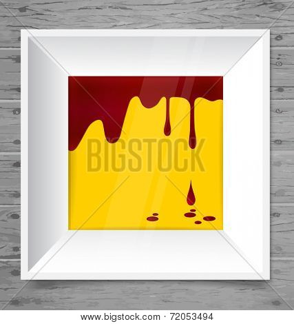 Blood dripping on modern frame, blood background. Vector illustration.