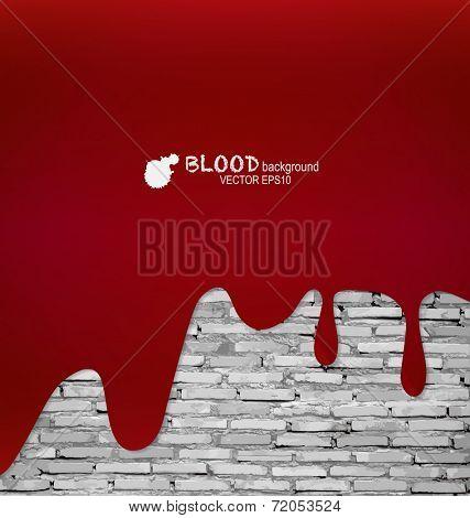 Happy Halloween. Blood dripping on brick wall. Vector illustration.