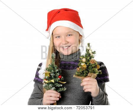 Teen in Santa hat