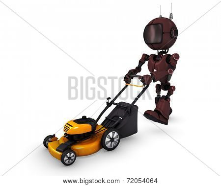 3D Render of an Android with lawn mower