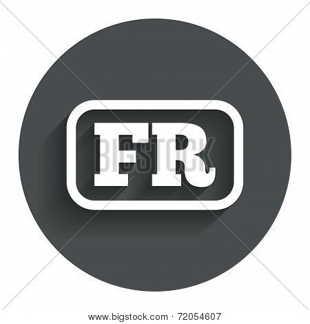 French language sign icon. FR translation.