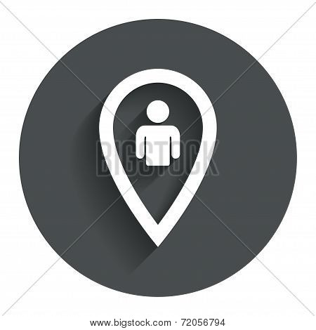 Map pointer user sign icon. Marker symbol.