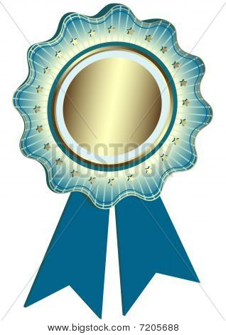Silvery Award with blue ribbons (vector)