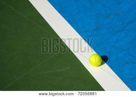 Tennis Ball On Tennis Court Background