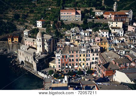 Vernazza and ocean coast in Cinque Terre, Italy