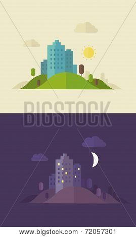 Flat Design Day And Night Sity Illustration