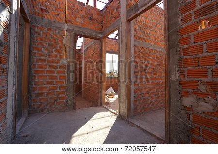 Building And Construction House, Wall Made Brick