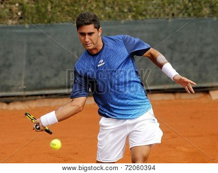 BARCELONA - 22: Argentinian tennis player Facundo Arguello in action during a match of Barcelona tennis tournament Conde de Godo on April 22, 2014 in Barcelona