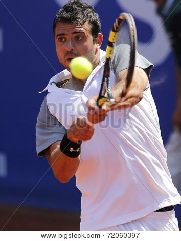 BARCELONA - APRIL, 24: Spanish tennis player Iñigo Cervantes in action during a match of Barcelona tennis tournament Conde de Godo on April 24, 2014 in Barcelona
