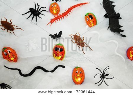 Spooky Halloween Toys And Pumpkin Candies