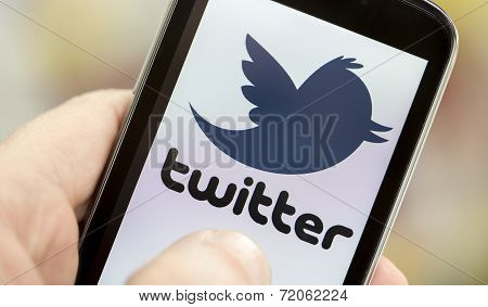 Belgrade - May 03, 2014 Logo Of Popular Social Media Website Twitter On Smart Phone Screen