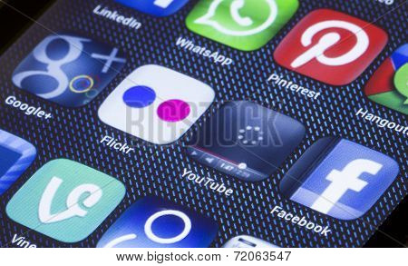 Belgrade - July 05, 2014 Popular Social Media Icons Flickr Youtube And Other On Smart Phone Screen C