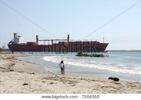 Transport Ship In Caribbean Beach