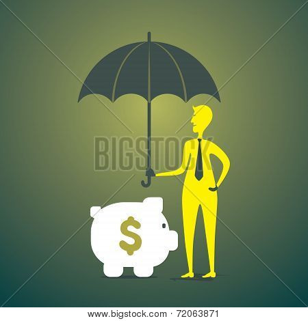 saving or secure money men under umbrella concept vector