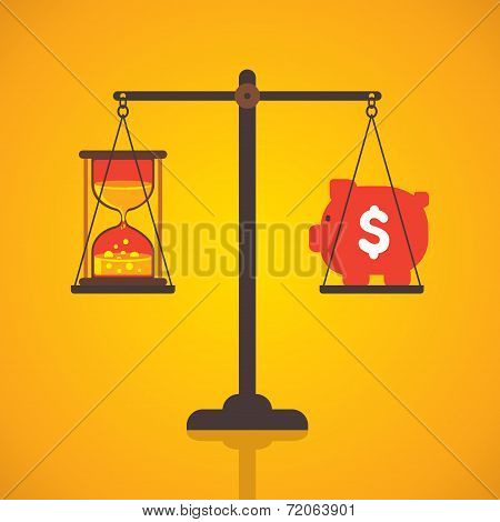 weighing or compare or exchange time to money concept vector