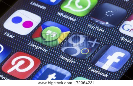 Belgrade - July 05, 2014 Popular Social Media Icons On Smart phone