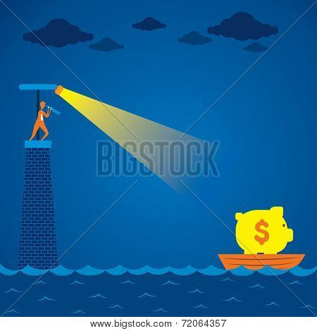 men search boat with full of money concept vector