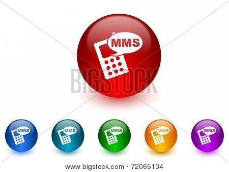 mms internet icons colorful set
